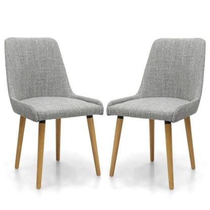 An Image of Kelcy Dining Chair In Grey Weave With Wooden Legs In A Pair