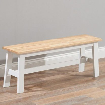 An Image of Antlia Wooden Large Dining Bench In Oak And White