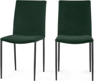 An Image of Braga Set of 2 Dining Chairs, Pine Green Velvet