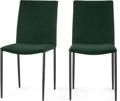 An Image of Braga Set of 2 Dining Chairs, Pine Green Velvet