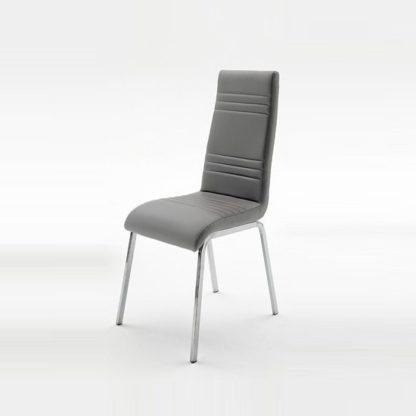 An Image of Dora Dining Chair In Grey Faux Leather With Chrome Base