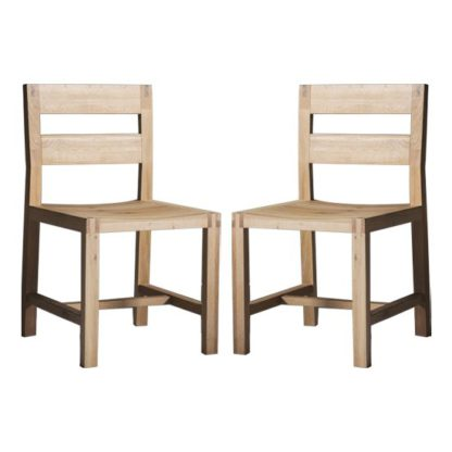 An Image of Kielder Oak Dining Chairs In Pair