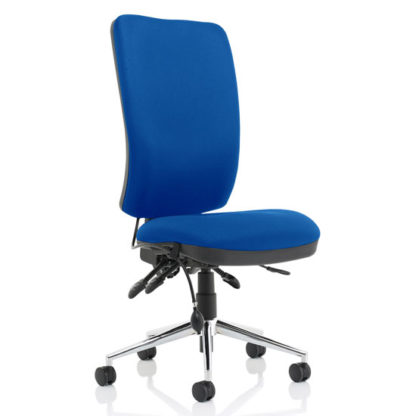 An Image of Chiro Fabric High Back Office Chair In Blue No Arms
