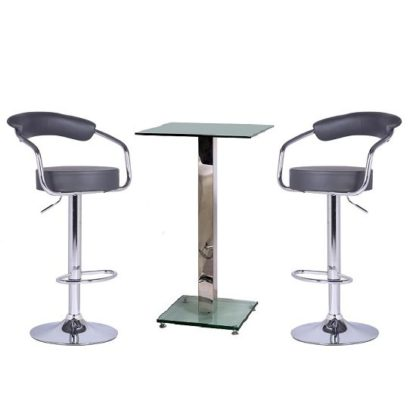 An Image of Spice Bar Table In Clear Glass And 2 Zenith Grey Bar Stools