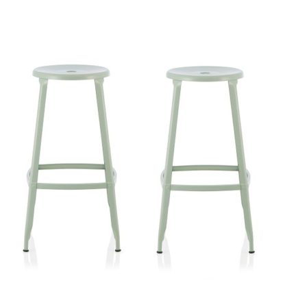 An Image of Bryson 76cm Metal Bar Stools In Green In A Pair