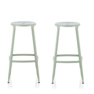 An Image of Bryson 66cm Metal Bar Stools In Green In A Pair