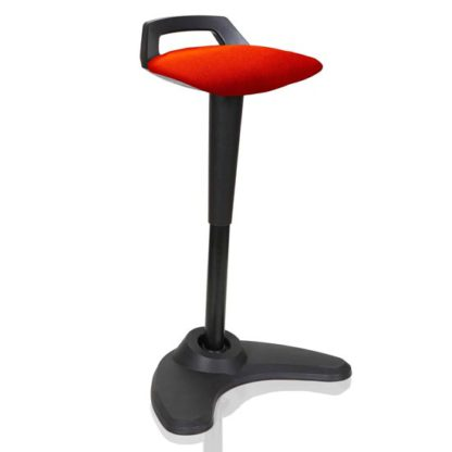 An Image of Spry Fabric Office Stool In Black Frame And Tobasco Red Seat