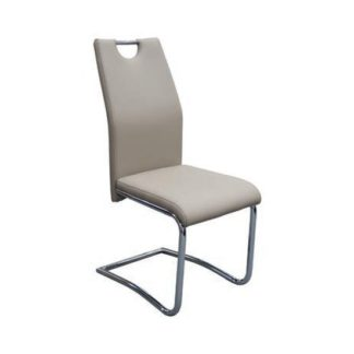 An Image of Capella Faux Leather Dining Chair In Khaki