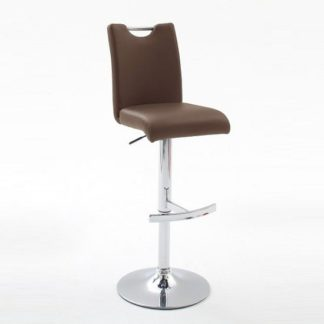 An Image of Aachen Brown Faux Leather Seat Gas Lift Bar Stool