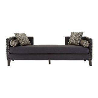 An Image of Mesarthim Velvet 3 Seater Day Bed Sofa In Dark Grey