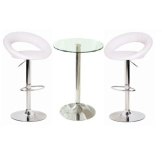An Image of Gino Bar Table In Clear Glass And 2 Leoni Bar Stools In White