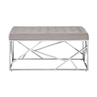 An Image of Alluras Mink Velvet Bench With Silver Asymmetric Base