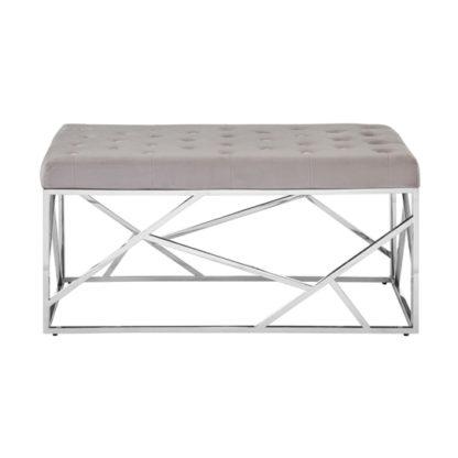 An Image of Alluras Mink Velvet Bench With Silver Asymmetric Base