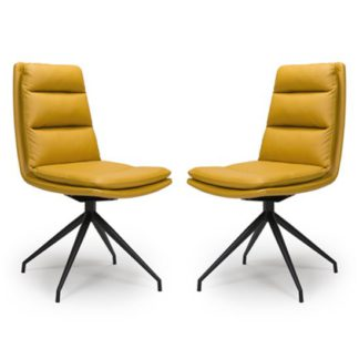 An Image of Nobo Ochre Faux Leather Dining Chair In A Pair With Black Legs
