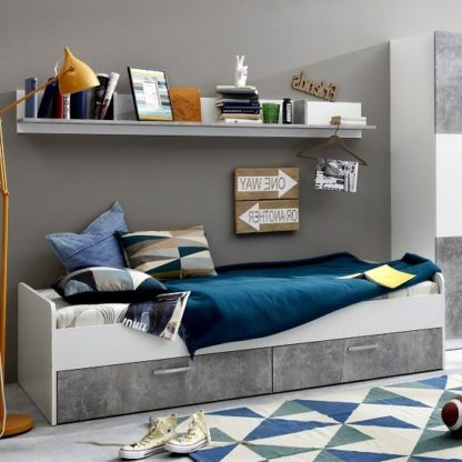 An Image of Rimini Childrens Bed In White And Stone Grey