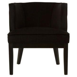 An Image of Adalinise Rounded Velvet Upholstered Bedroom Chair In Black