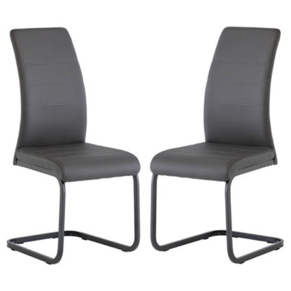 An Image of Michigan Grey Leather Dining Chair In A Pair