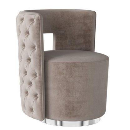 An Image of Tamara Velvet Fabric Swivel Lounge Chair In Mink