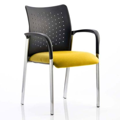 An Image of Academy Office Visitor Chair In Senna Yellow With Arms