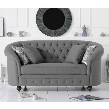 An Image of Astoria Chesterfield 2 Seater Sofa In Grey Linen Fabric