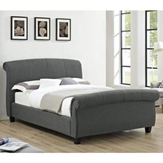 An Image of Arabella Linen Fabric Double Bed In Grey