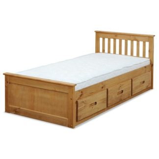An Image of Mission Storage Single Bed In Waxed Pine With 3 Drawers