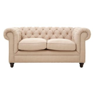 An Image of Poerava 2 Seater Linen Sofa With Beige