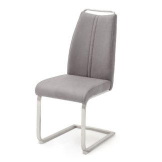 An Image of Giulia Leather Cantilever Dining Chair In Ice Grey