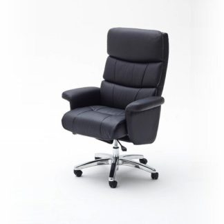 An Image of Bastian Home Office Chair In Black PU Leather And Padded Armrest