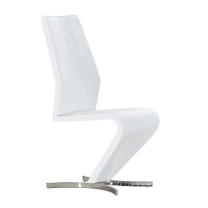 An Image of Gia Dining Chair In White Faux Leather With Chrome Base