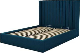 An Image of Custom MADE Cory King size Bed with Ottoman, Navy Wool