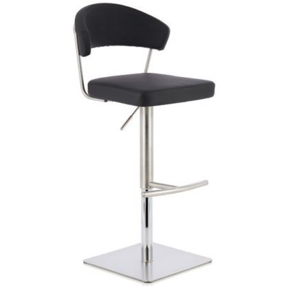 An Image of Abilio Bar Stool In Black Faux Leather And Stainless Steel Base