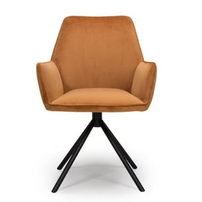 An Image of Uno Velvet Fabric Dining Chair In Burnt Orange
