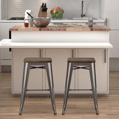 An Image of Fusion Antique Gun Metal Backless Counter Stool In Pair