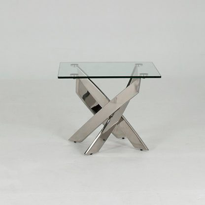 An Image of Xenon Glass End Table Square In Clear With Stainless Steel Base