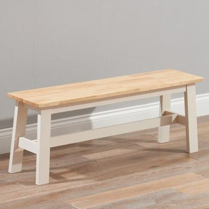 An Image of Antlia Wooden Large Dining Bench In Oak And Cream