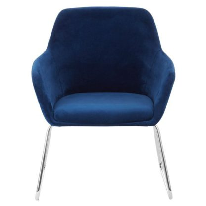 An Image of Porrima Fabric Chair in Blue With Stainless Steel Legs