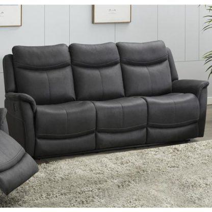 An Image of Arizona Fabric 3 Seater Fixed Sofa In Slate
