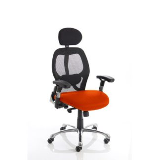 An Image of Coleen Home Office Chair In Pimento With Castors