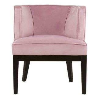 An Image of Adalinise Rounded Velvet Upholstered Bedroom Chair In Pink