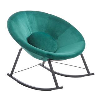 An Image of Artos Velvet Rocking Chair In Teal With Chrome Legs