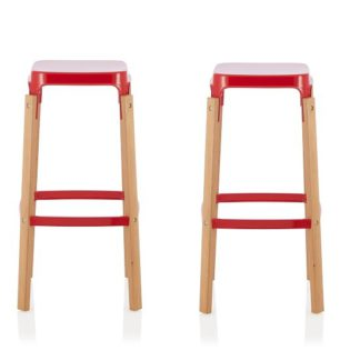 An Image of Hoker 66cm Bar Stools In Glossy Red In A Pair