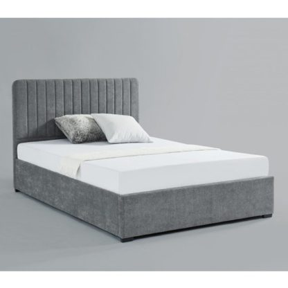 An Image of Livingstone Fabric Storage Double Bed In Grey