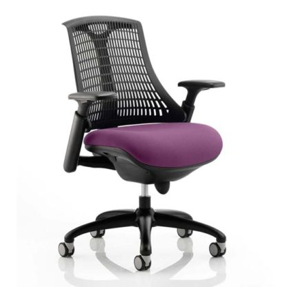 An Image of Flex Task Black Back Office Chair With Tansy Purple Seat