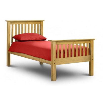 An Image of Velva Wooden Single High Foot Bed In Low Sheen Lacquer