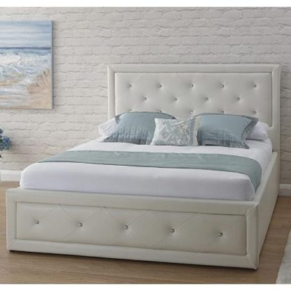 An Image of Hollywood Faux Leather King Size Bed In White