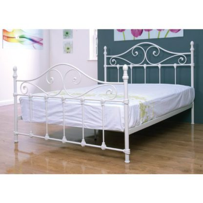 An Image of Cotswold Metal Small Double Bed In Ivory