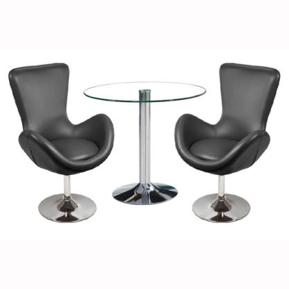 An Image of Dante Bistro Set In Clear Glass With 2 Destiny Black Chairs