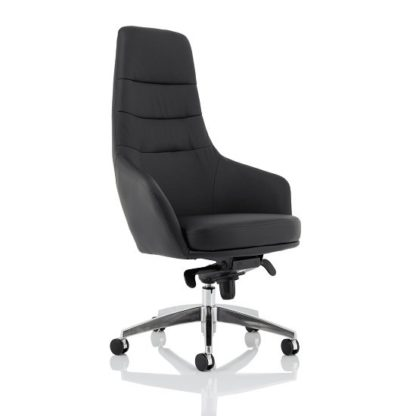 An Image of Crase Faux Leather Office Chair In Black With High Back