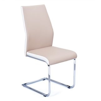 An Image of Marine Dining Chair In Beige And White PU Leather Chrome Base